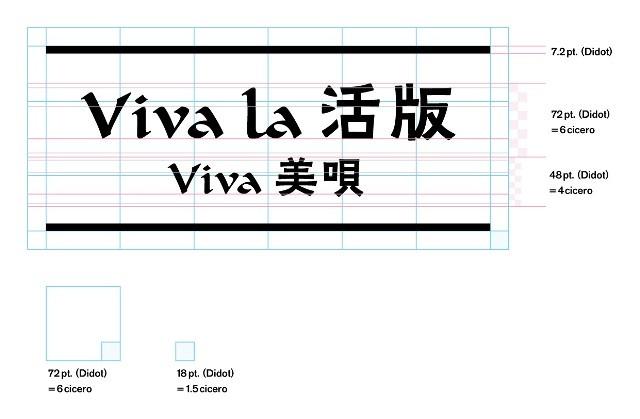 Viva la 活版 Viva 美唄タイトルデザイン、グリッドによる割り出し図uu
