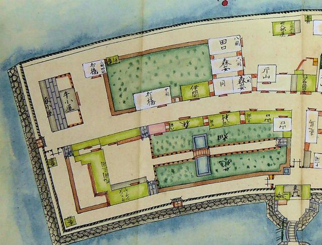 長崎諸役所絵図 出島拡大左側