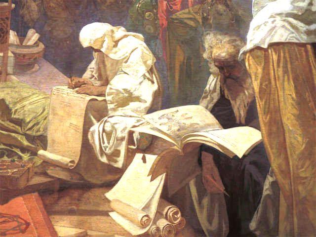 スラヴ叙事詩『ブルガリアのシメオン皇帝―スラヴ語文学の暁の明星ー』より筆記者と本を読む老人