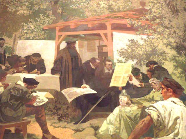 スラヴ叙事詩『イヴァンチッツェのモラヴィア兄弟団学校―クラリッツェ聖書の発祥地―』より印刷の様子
