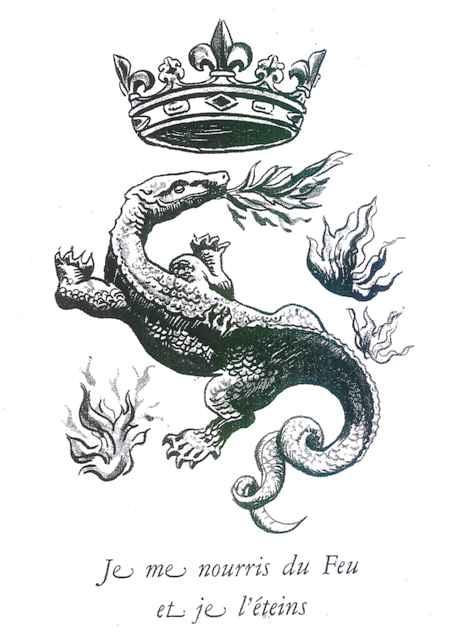 フランス国立印刷所 旧ロゴ[1]「Je me nourris de Feu et je L'éteins  意訳:我は火焔をはぐくみ、それを滅ぼす」