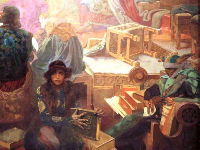 スラヴ叙事詩『ポジェブラッドのイジー王』より読書する人びと