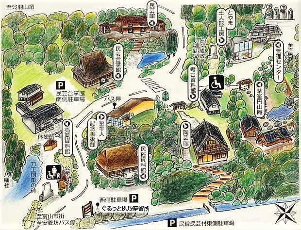 富山民俗資料館地図